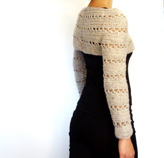 Sweater Crochet PATTERN - Caramel Cropped Sweater/ Chunky Knit Shrug ...