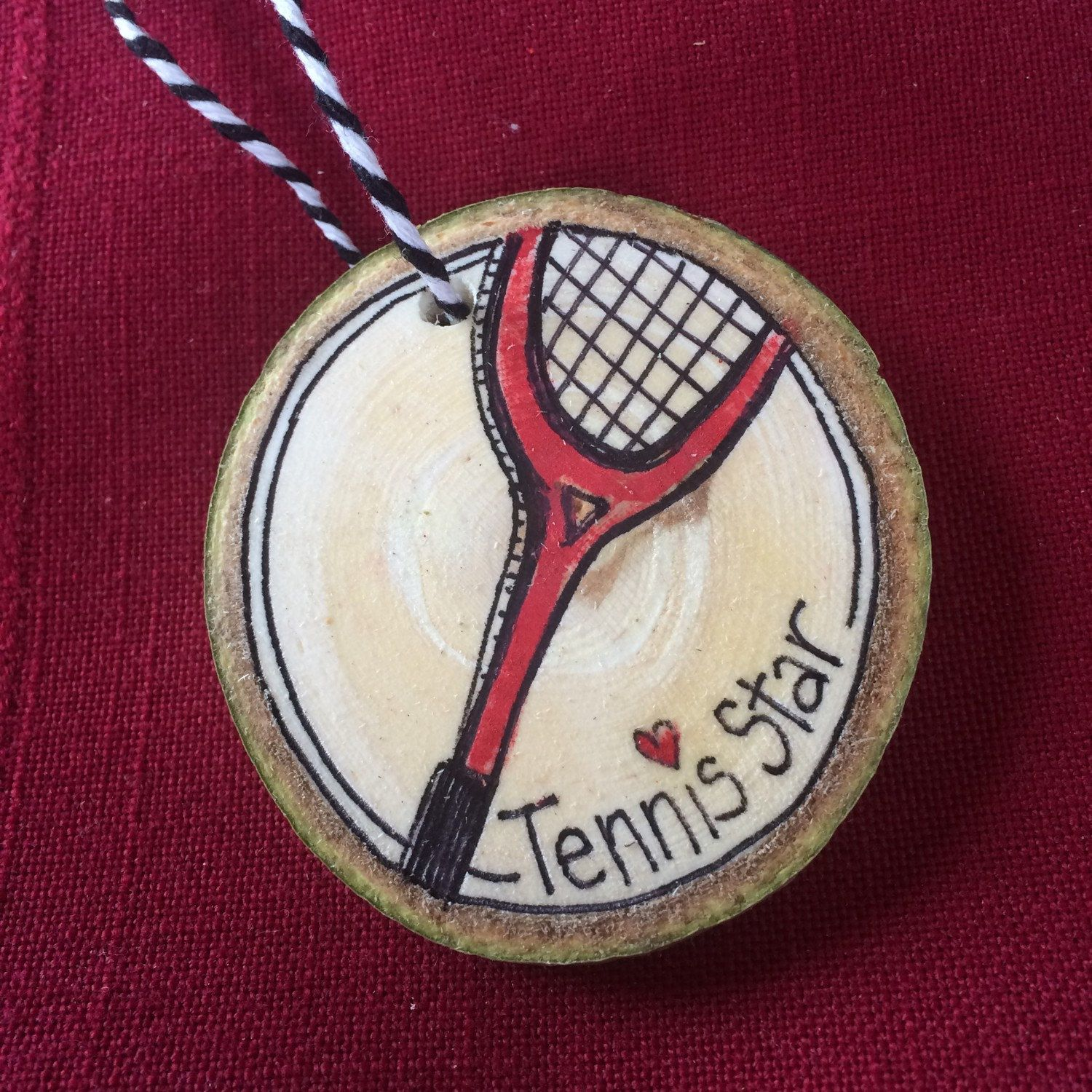 Tennis ornament Wood slice made from Colorado aspen wood. Hand cut and finished by Just a Plain Jane.