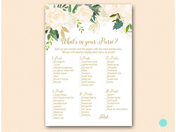 gold and bluff bridal shower games bridal shower whats in your purse game purse raid purse hunt g