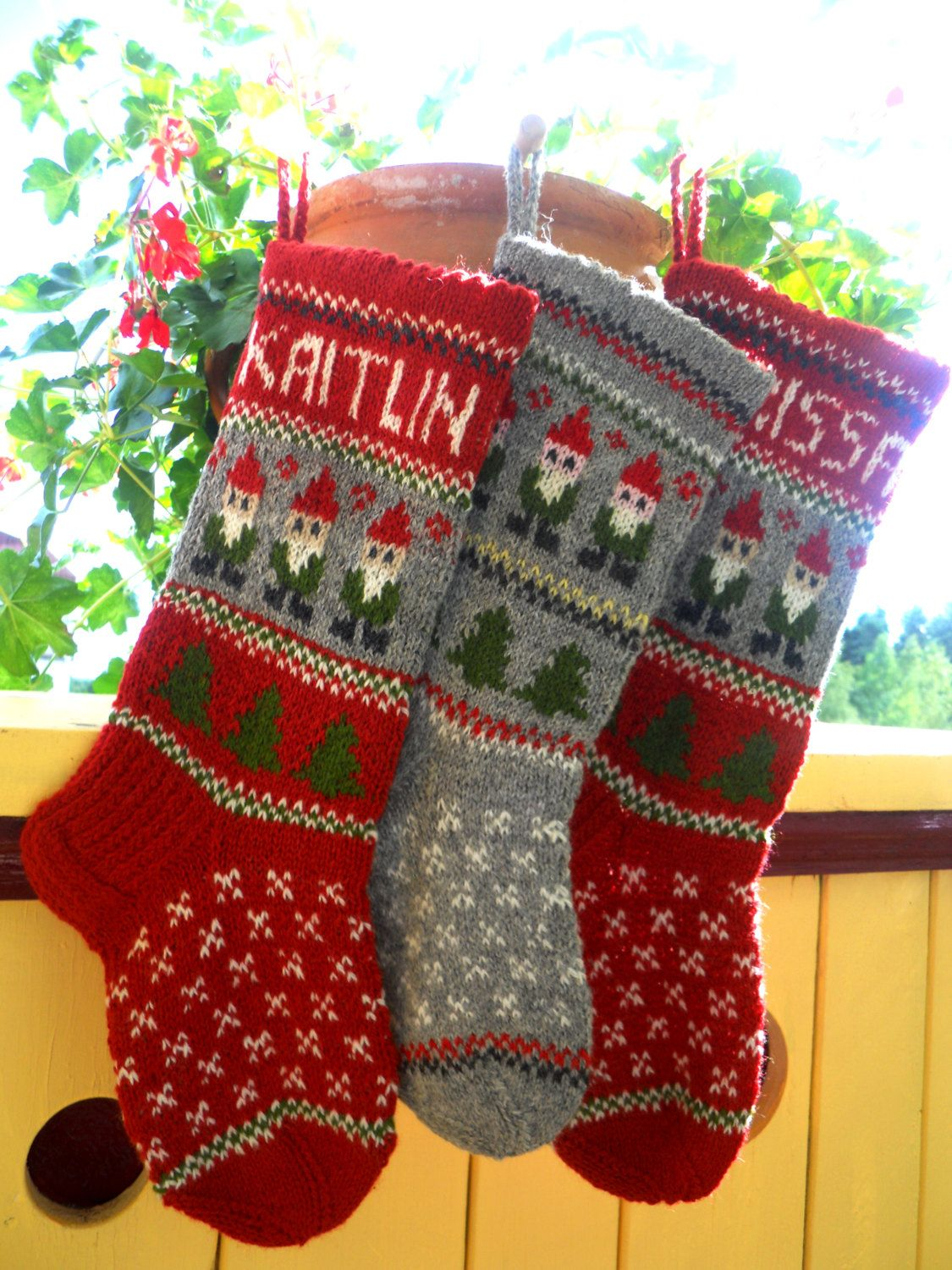 Hand knitted Christmas Stocking Gray Gnomes by KnittingsWithSense ...