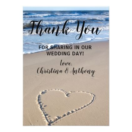 Heart on the Shore Beach Wedding Thank You Note Card Wedding