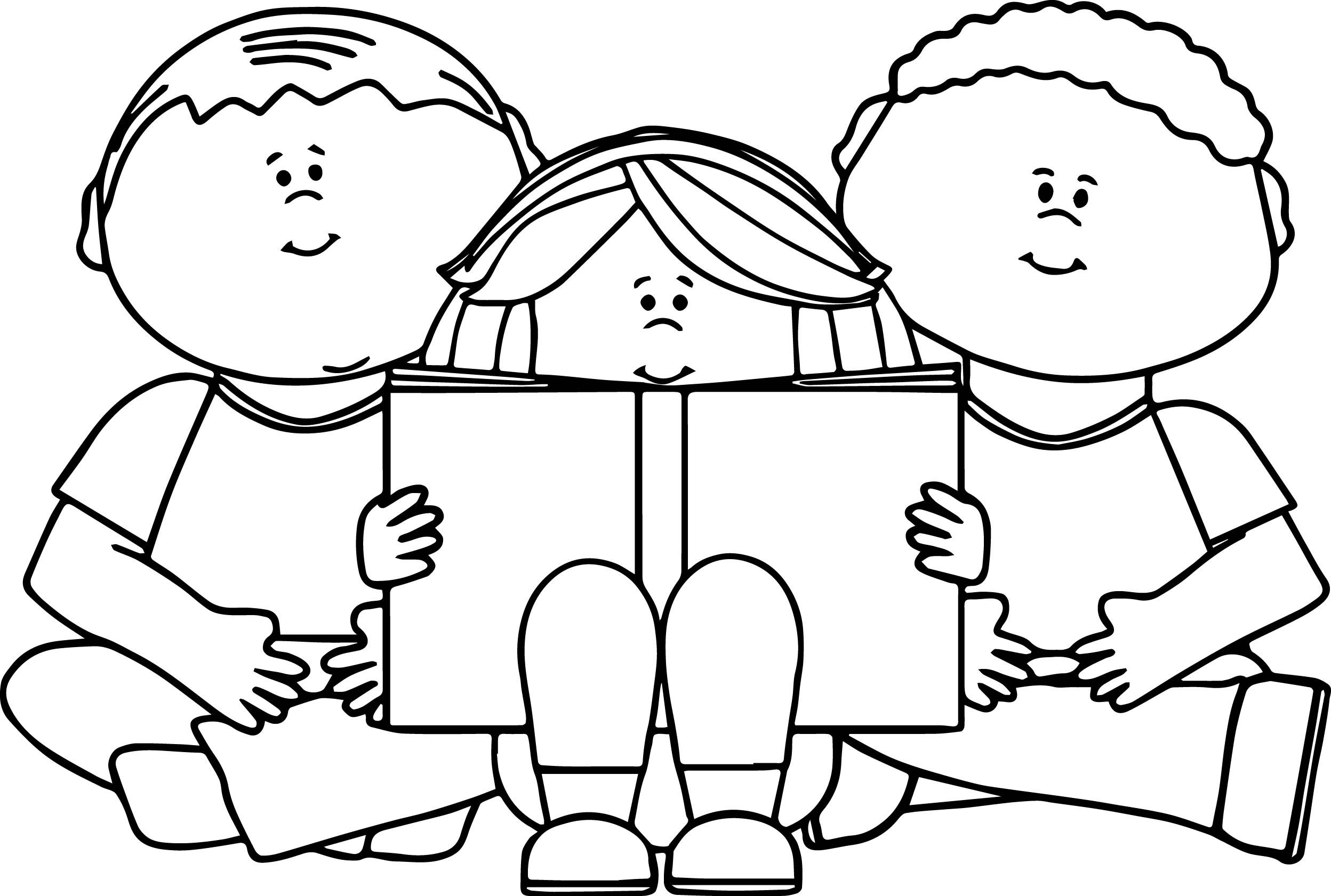 Kids Reading Book Coloring Page