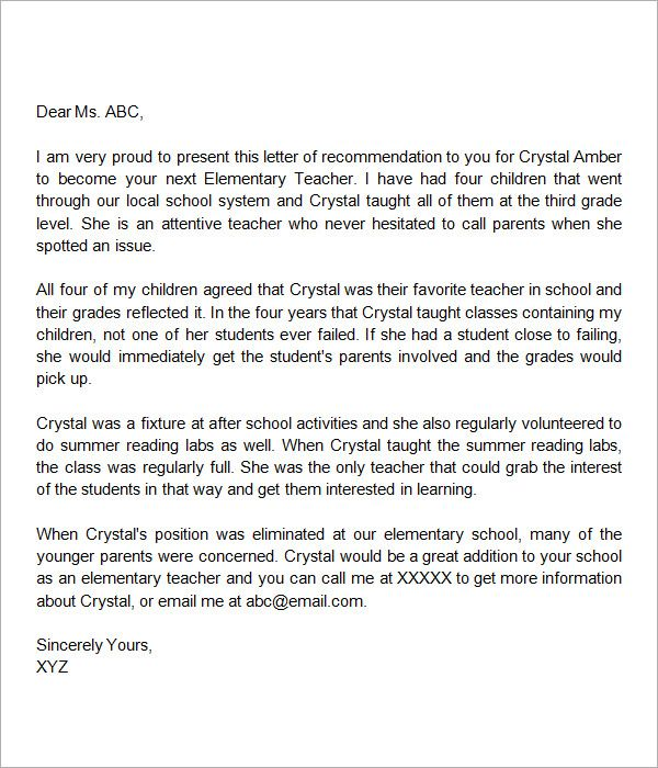 elementary school letter of recommendation   Hadi.palmex.co