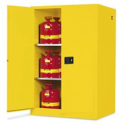 Standard Flammable Storage Cabinet 90 Gallon Manual Doors Yellow H 2219m Y Uline Storage Tall Cabinet Storage Storage Cabinets