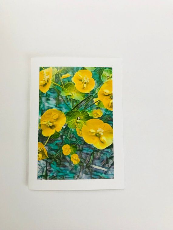 Yellow Wildflowers Photo Art Greeting Card Blank Fine Any Occassion Birthday