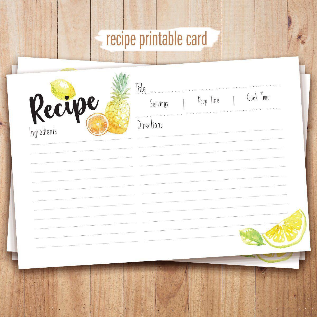 recipe cards printable 4x6 recipe cards recipe templates