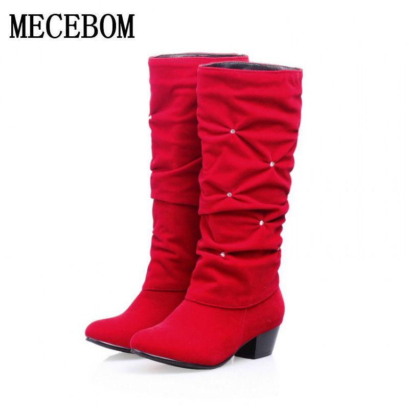 Plus Size 34-43 Fashion New Autumn Mid-Calf Women Boots Black Red Blue Thick Heels Half Boots Winter Female Diamante Long WzmwW  #Affiliate