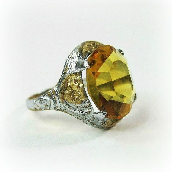 Dainty Vintage Art Deco Ring  1920s  Citrine by WickedDarling, $59.00