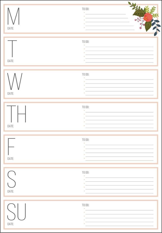 filofax-einlagen-personal-ausdrucken-wochentage-blume | DIY ...
