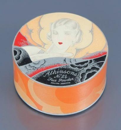 Atkinsons - «Face Powder n°24» - (années 1930) - Boite de poudre cylindrique illustrée polychrome et titrée