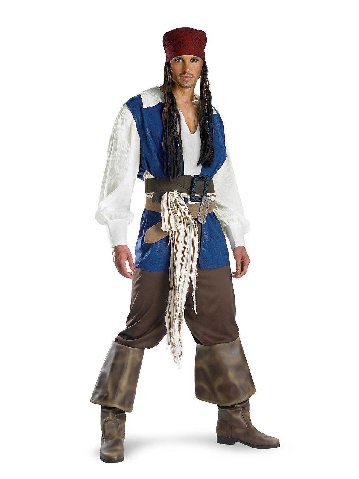 Mens Pirate Costume Buccaneer Adult Carribean Man Jack Fancy Dress Outfit