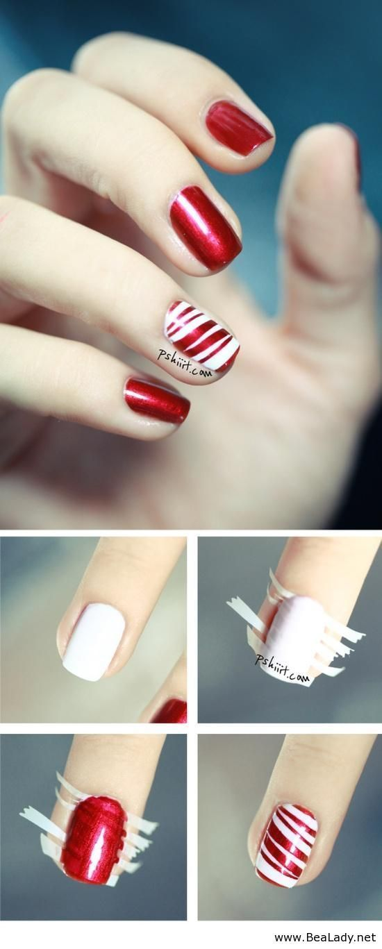 20 Amazing And Simple Nail Designs You Can Easily Do At Home Cute Diy Projects Candy Cane Nails Nails Red Nail Designs