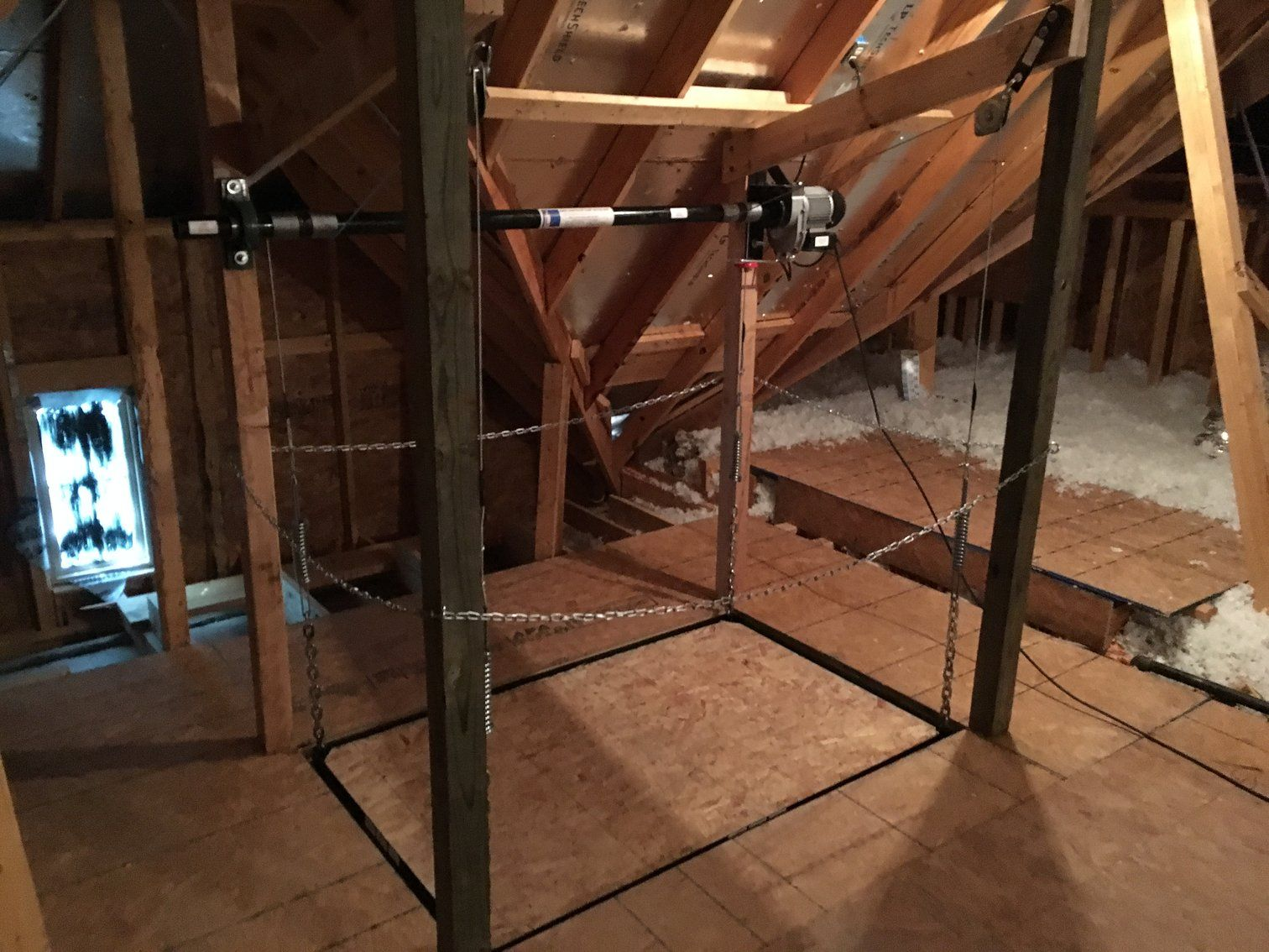 Attic Lift Diy 300 Lbs Post Style Lift In 2019 Attic Space Garage Storage