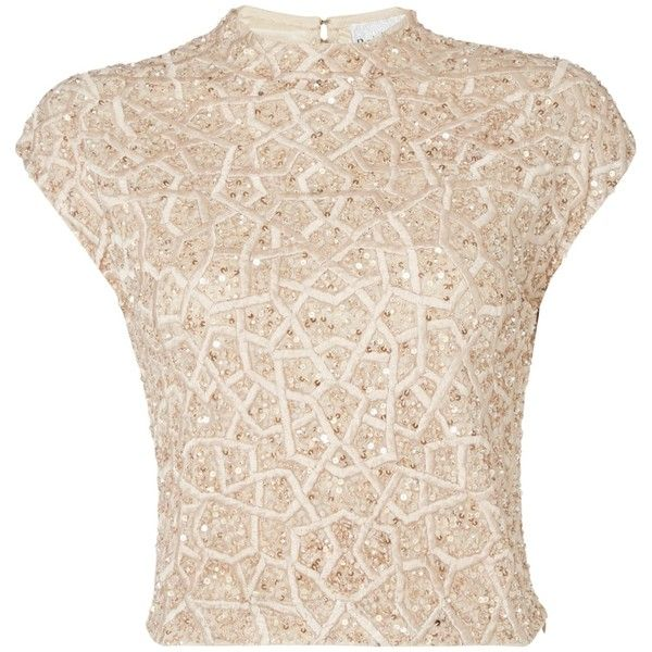 Raishma Geometric Embellished Crop Top , Blush (680 RON) ❤ liked on  Polyvore featuring