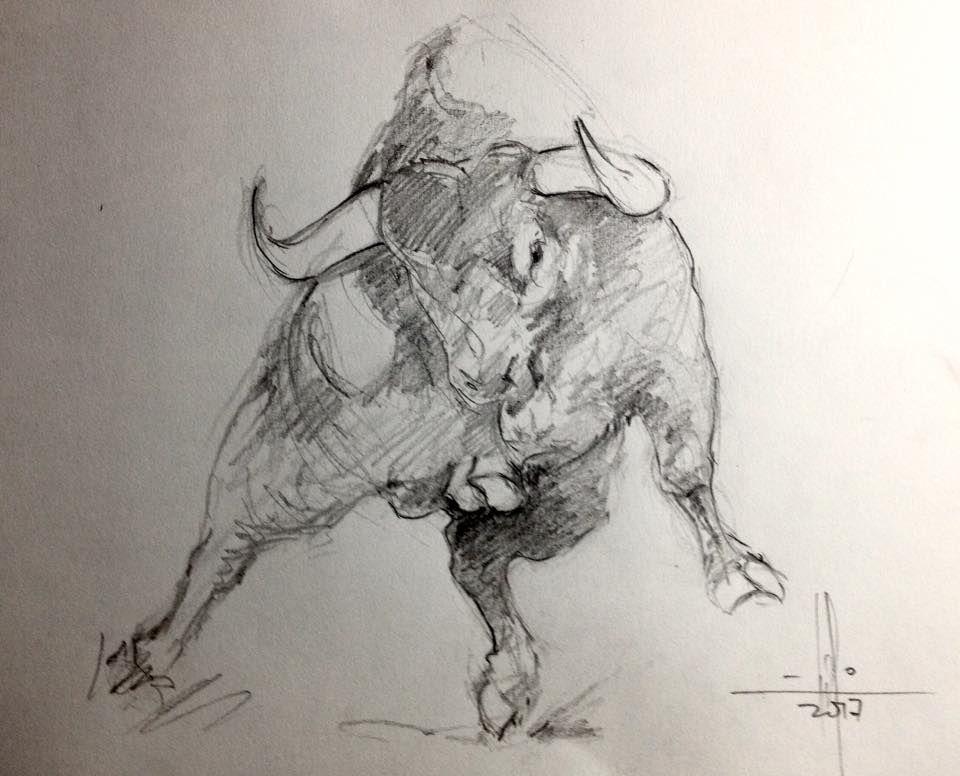 Toro Bravo Dibujo A Lápiz Por Francisco Javier Abellán Art In