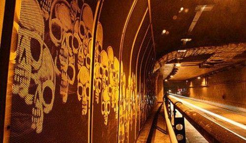 reverse graffiti subway halloween skulls