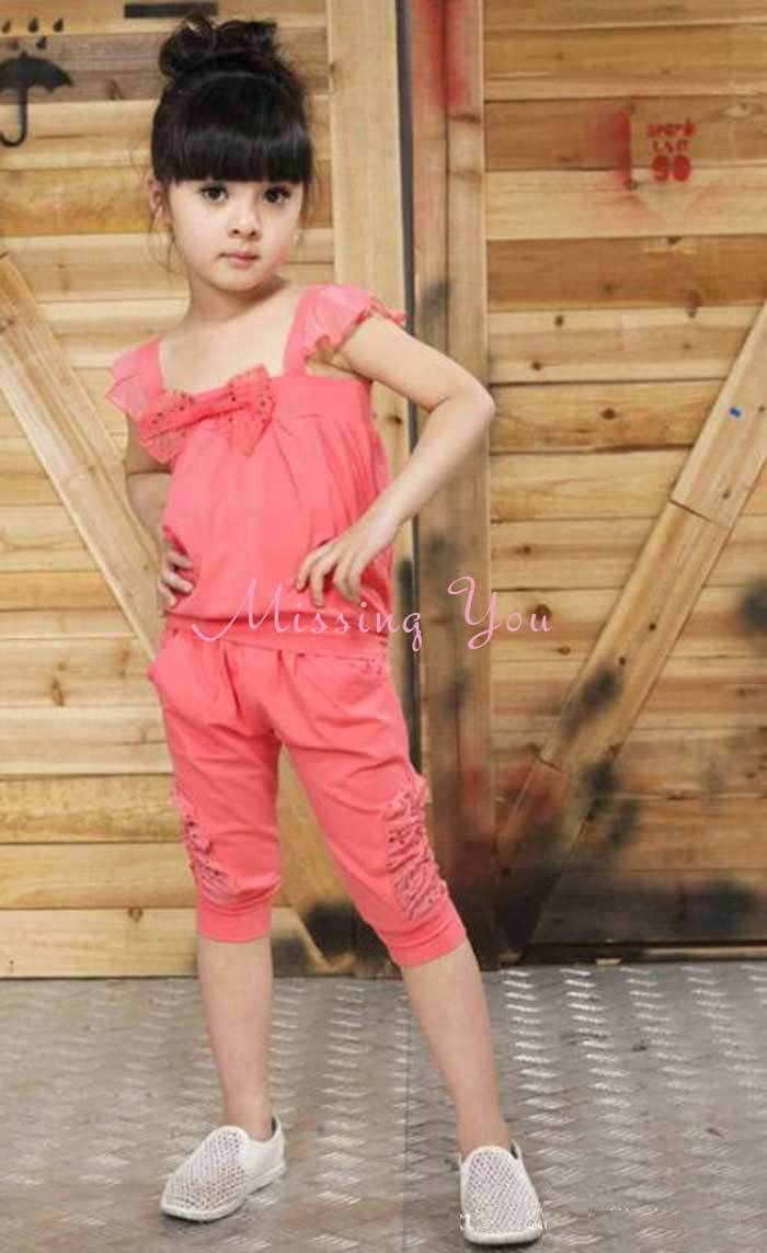 2689f7523b Aliexpress.com   Buy Hot Fashion Korean Style Kids Clothing Set Girls  Summer Suits 2pcs Set with Bowknot