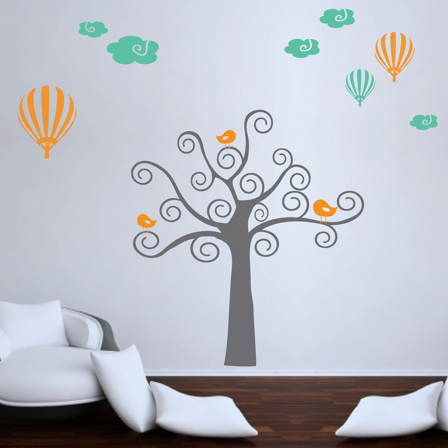Swirl Tree Wall Decal With Birds  Hot Air Balloon Wall Decal With Clouds   Childrens