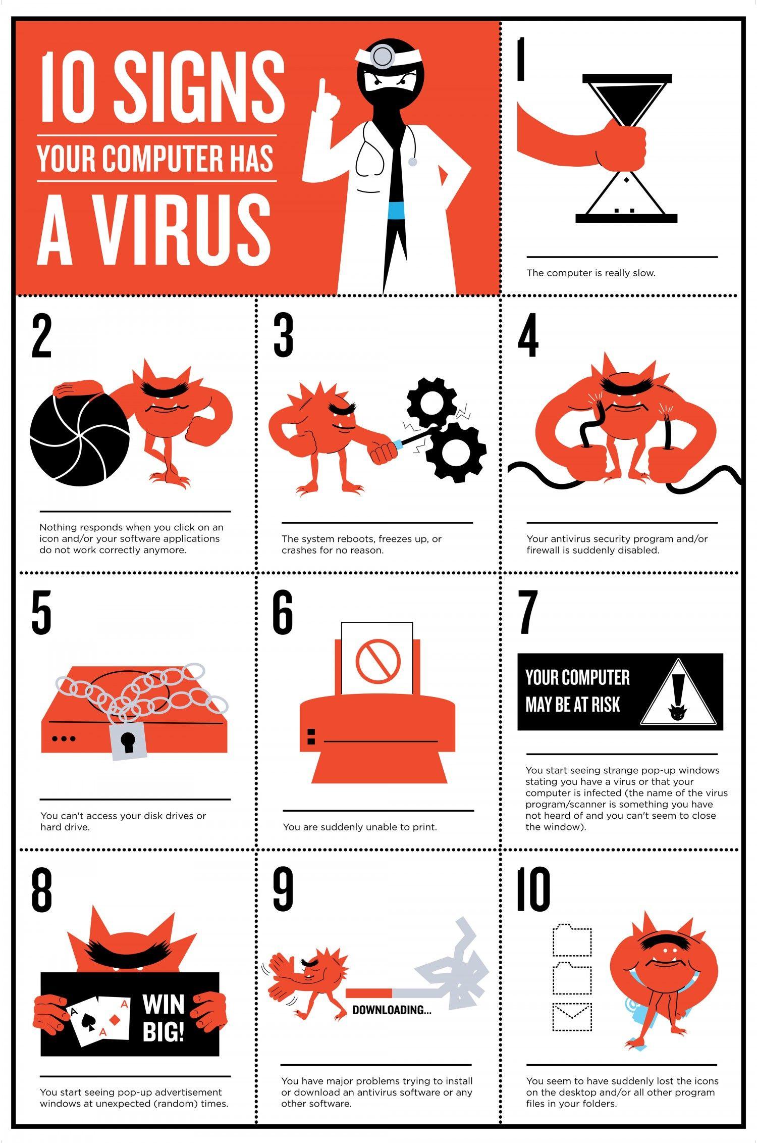 No hace falta ser un experto en informática para sospechar de que nuestro equipo ha sido víctima de malware. Nos puede avisar a través de alguno de estos signos. #ciberseguridad #infografía #ordenadores