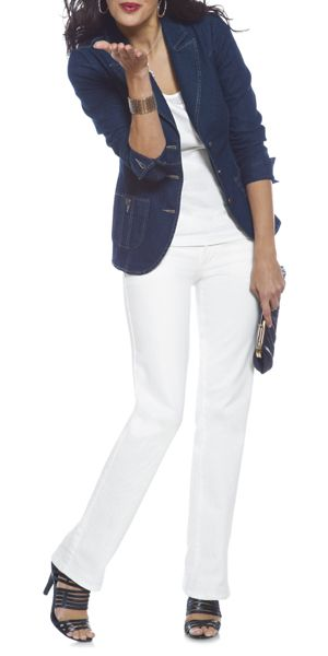 Our fabulous White Denim teamed up with our Denim Blazer. Fresh summer look