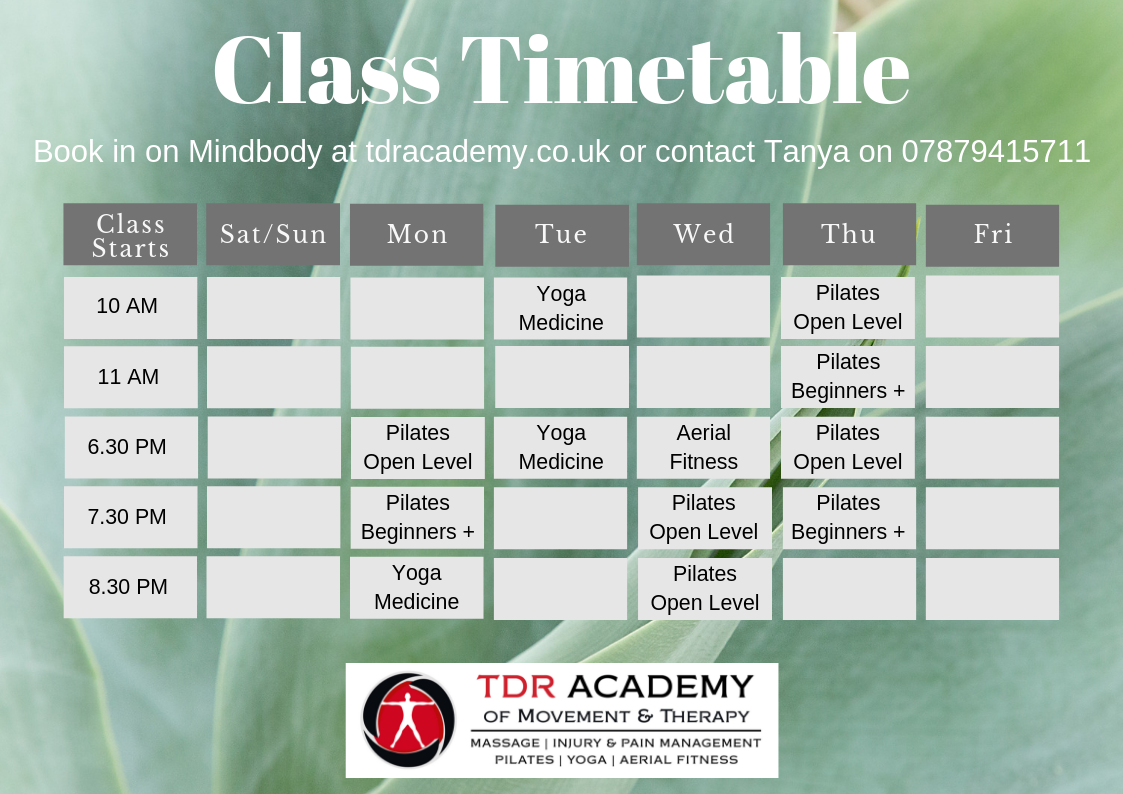 Check out our latest Class Timetable Pilates for