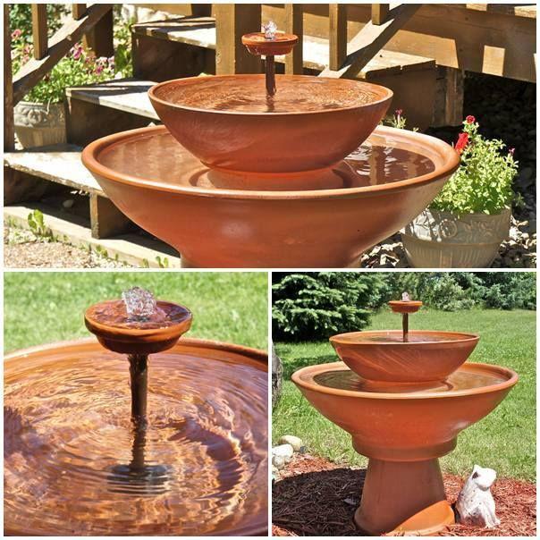 Pin de sandra garris en ideas pinterest fuentes - Fuentes solares para jardin ...