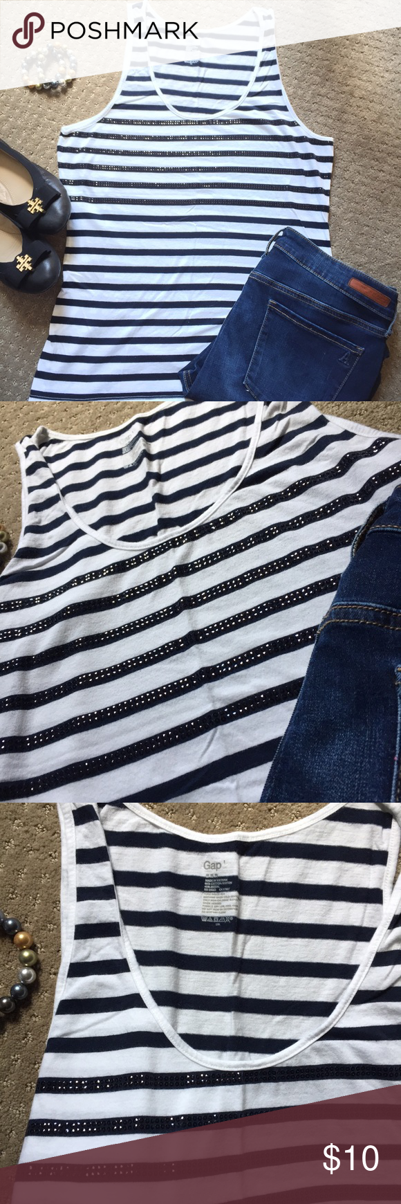 53f63f2eba1a8 Gap tank Navy blue and white Gap cotton striped tank. Great navy  embellishments on stripes over bust area. Size Large. Like new condition GAP  Tops Tank Tops