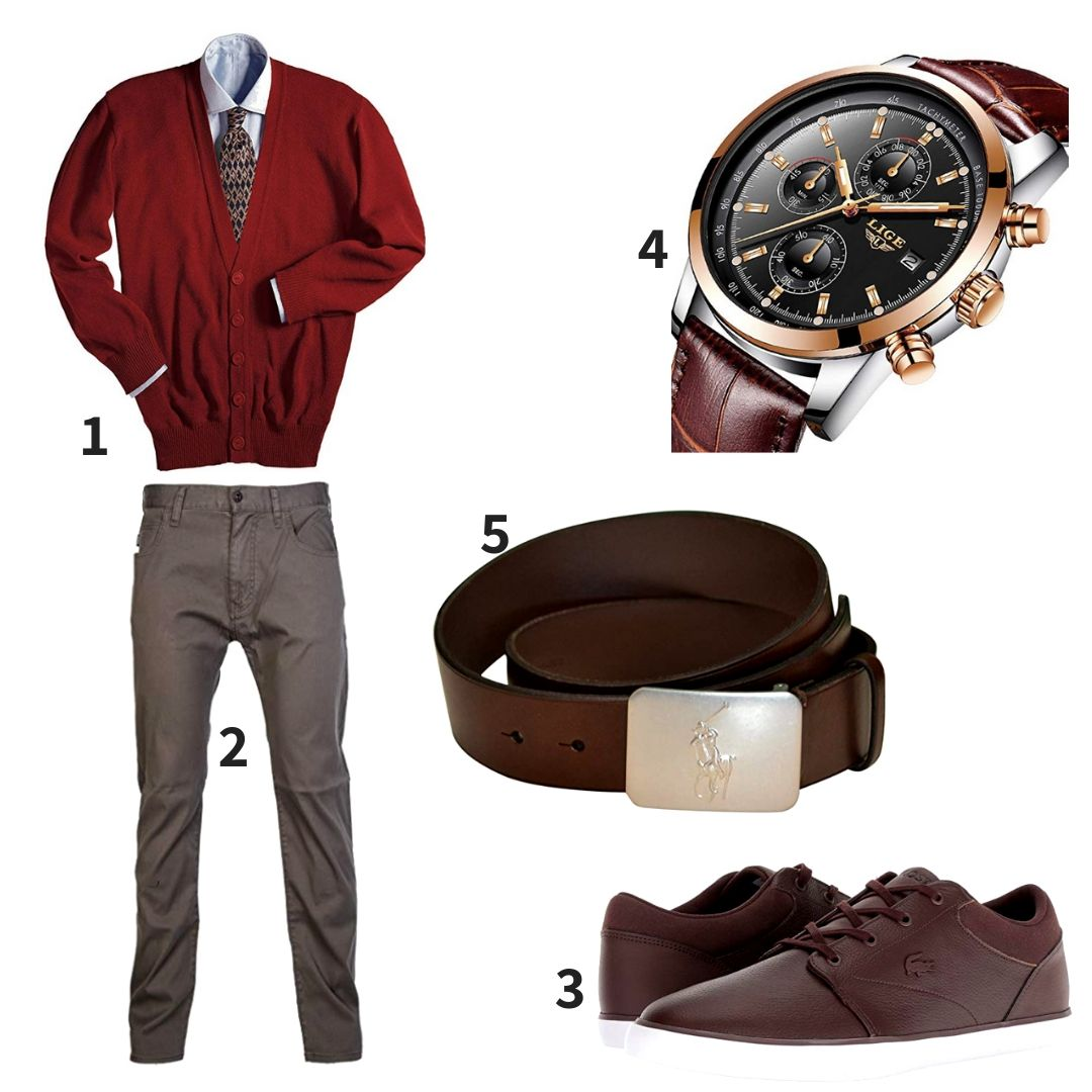 680f9e79f Pebbled Leather · Red Cardigan and Brown Jeans Outfit combining Edwards  Garment Men s Machine Washable V Neck Cardigan