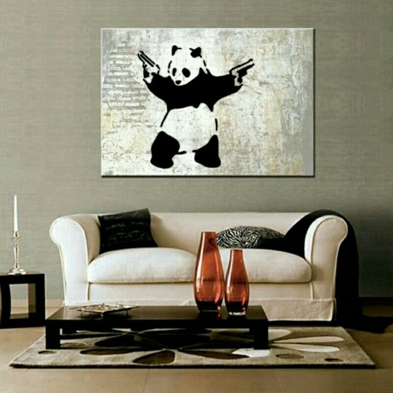 Pistol Packing Panda Canvas Wall Painting WORLDWIDE SHIPPING AVAILABLE Item Type