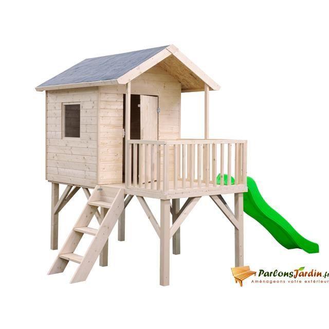 Maisonnette en bois sur pilotis pour enfants pu achat - Maison d enfant pour jardin ...