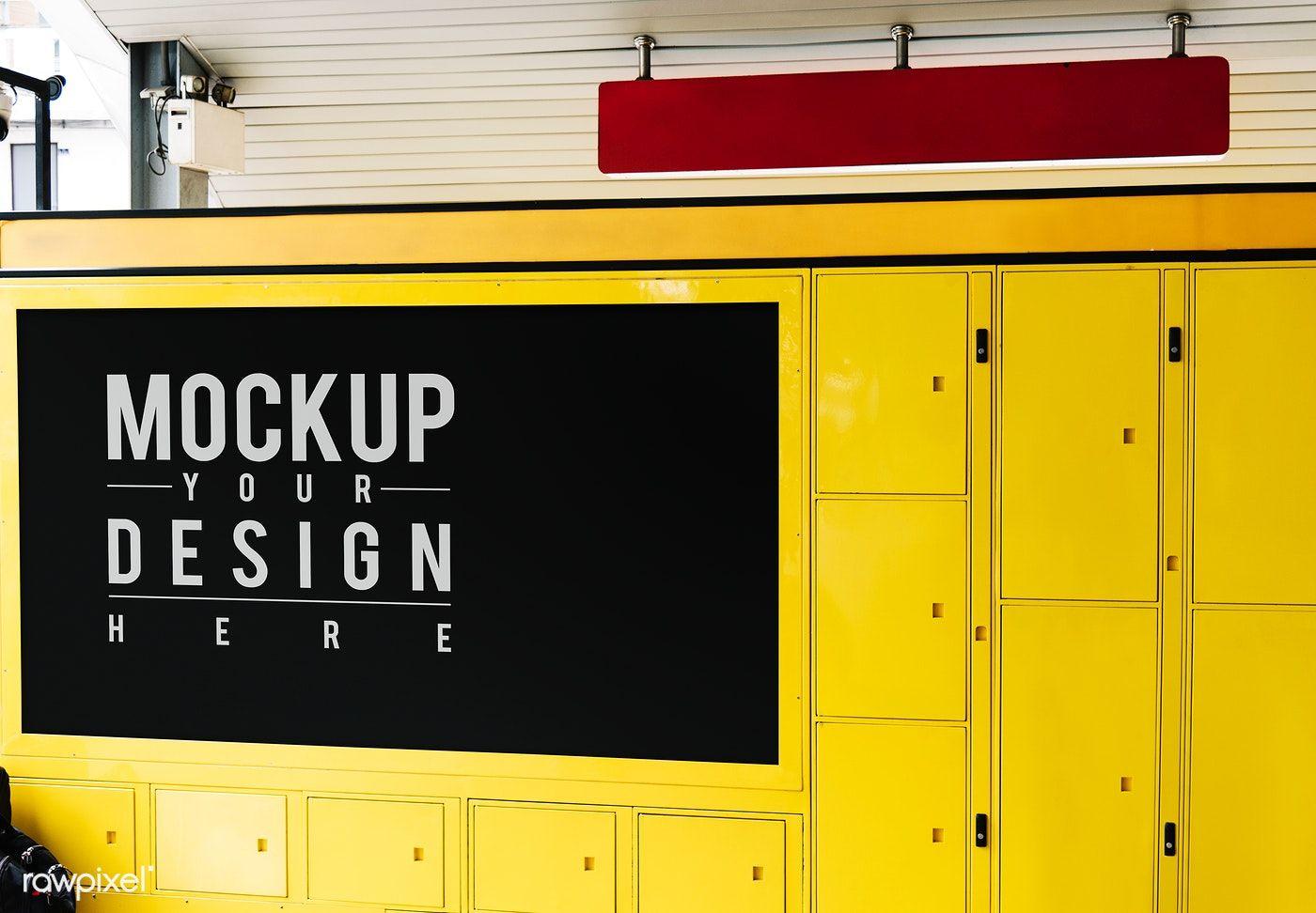 Hanging Red Sign Mockup Above Yellow Luggage Locker Free Image