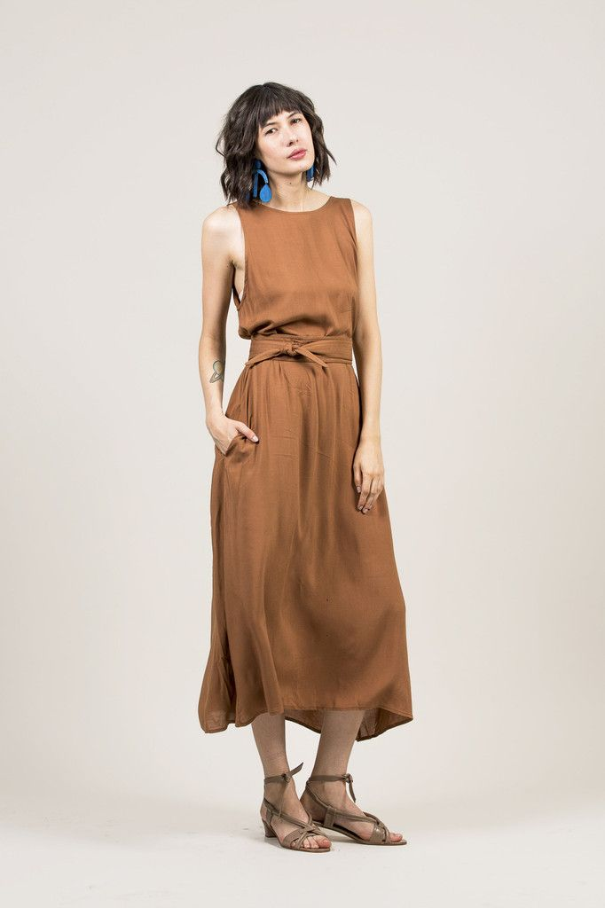 Palma Dress Almond By Jesse Kamm Kickpleat Jessekamm