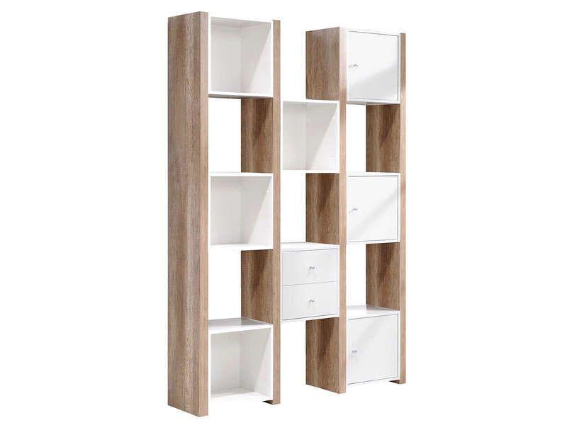 Etagère 3 portes 2 tiroirs Leader coloris chêne griffé et blanc ...