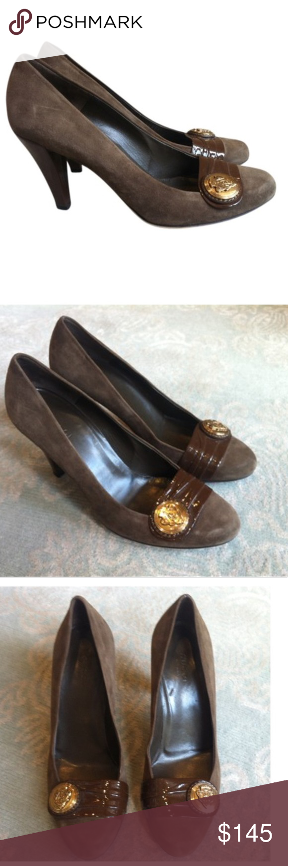 GUCCI BROWN SUEDE PUMPS ❤ Go from day to night w these exquisite  amp 4a60edf8809