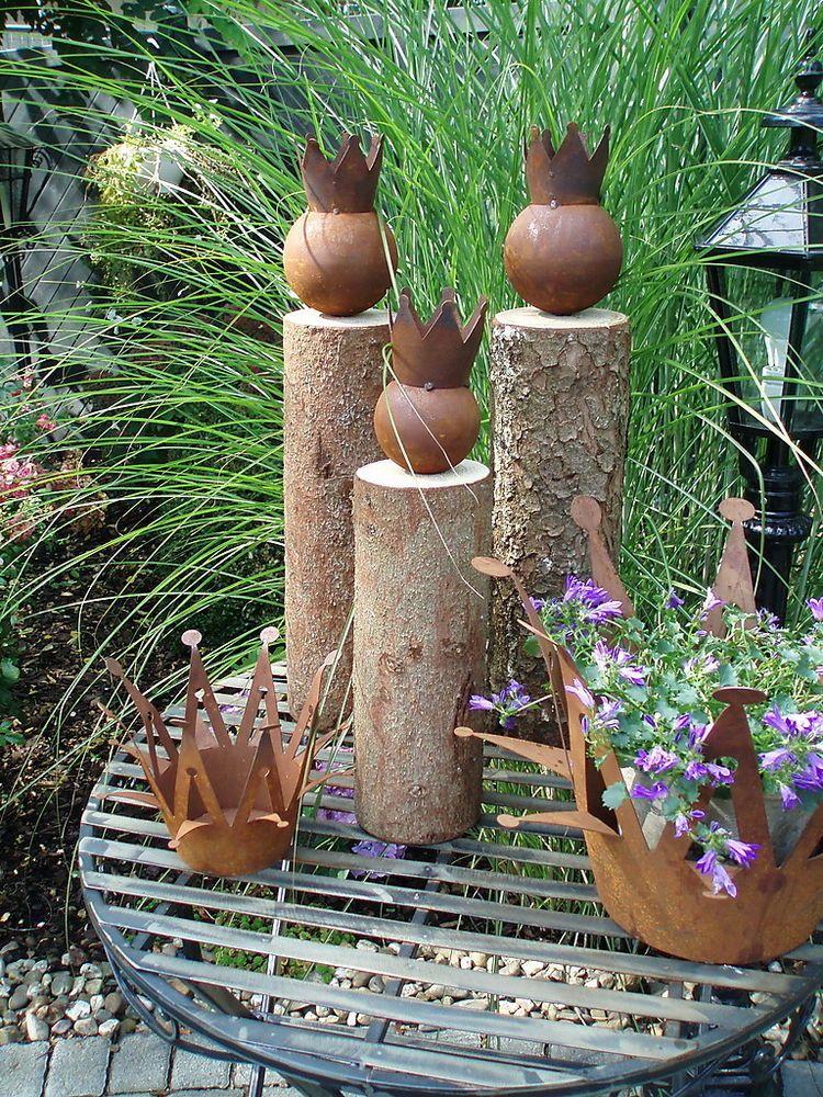 Details zu tolle Gartendeko ** König auf Baumstamm** Holz Eisen rost ...