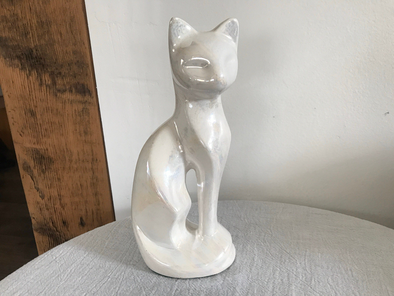 Vtg Opalescent Siamese Cat Figurine Ceramic MCM Home Decor Knick Knack #knickknack