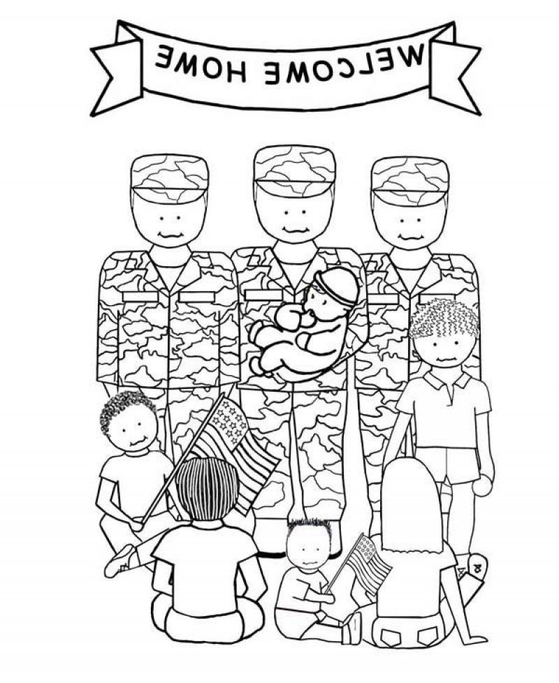 welcome home soldiers veterans day coloring page kids colouring