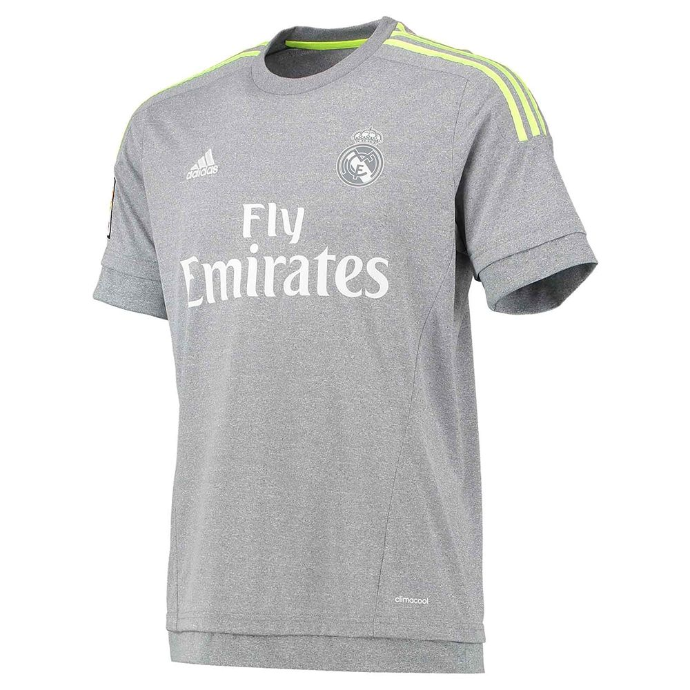 6f40a745b The grey with yellow accents help the 2015-16 Adidas Real Madrid away  soccer jersey