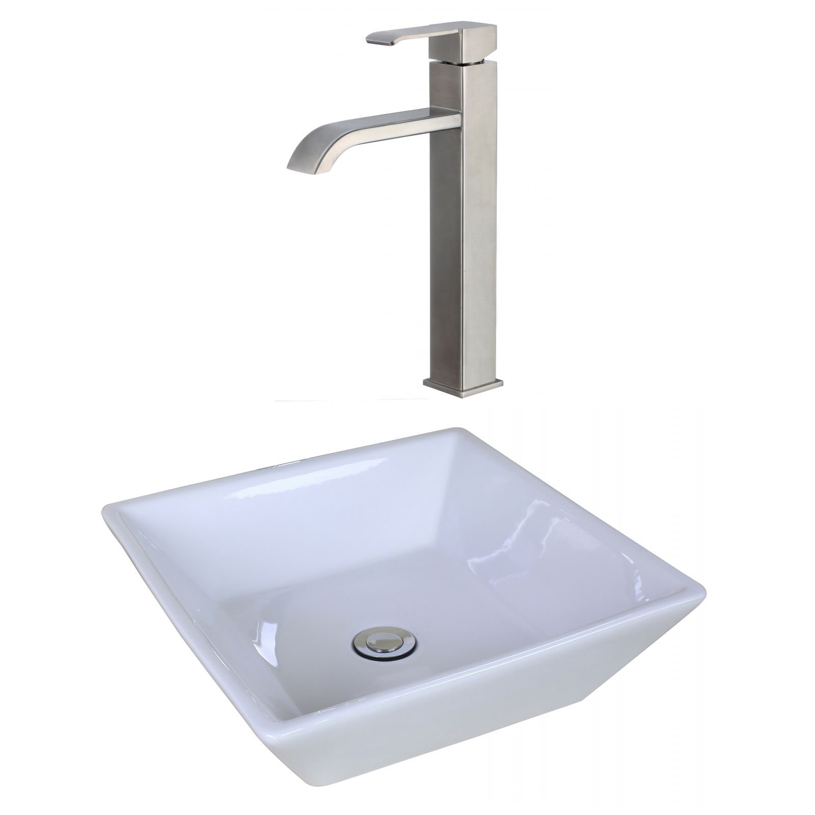 American Imaginations 16.14-in. W x 16.14-in. D Square Vessel Set In Color With Deck Mount Cupc Faucet