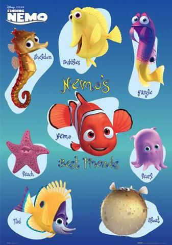 Afiche de los amigos de nemo finding nemo pinterest for Finding nemo fish names