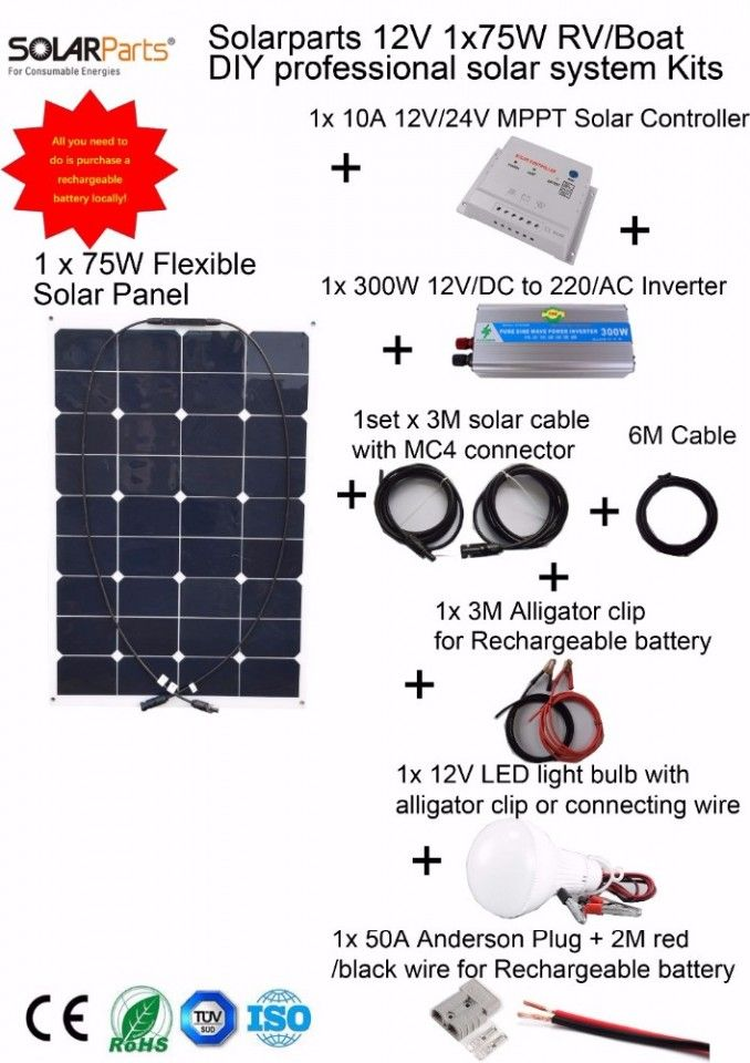 Flexible Solar Panel 75 Watts Mppt Solar Controller Inverter Led Light Boataccessorieslights Solar System Kit Solar Kit Flexible Solar Panels