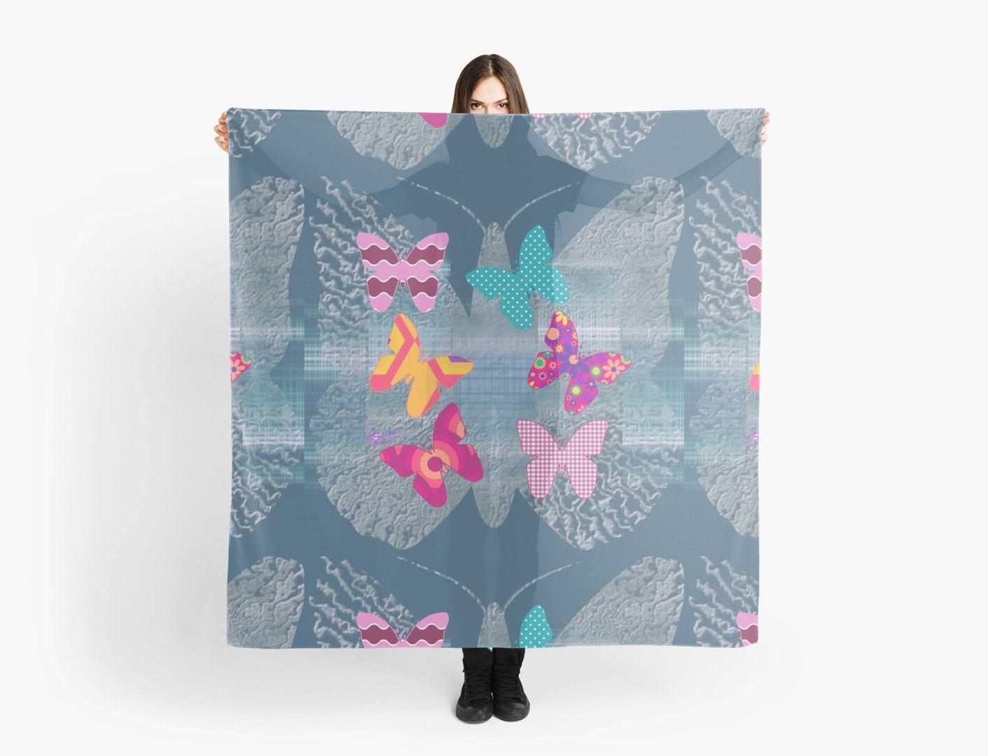 #ColorfulButterflies #InSilhouette #MatteChiffonScarf by #MoonDreamsMusic