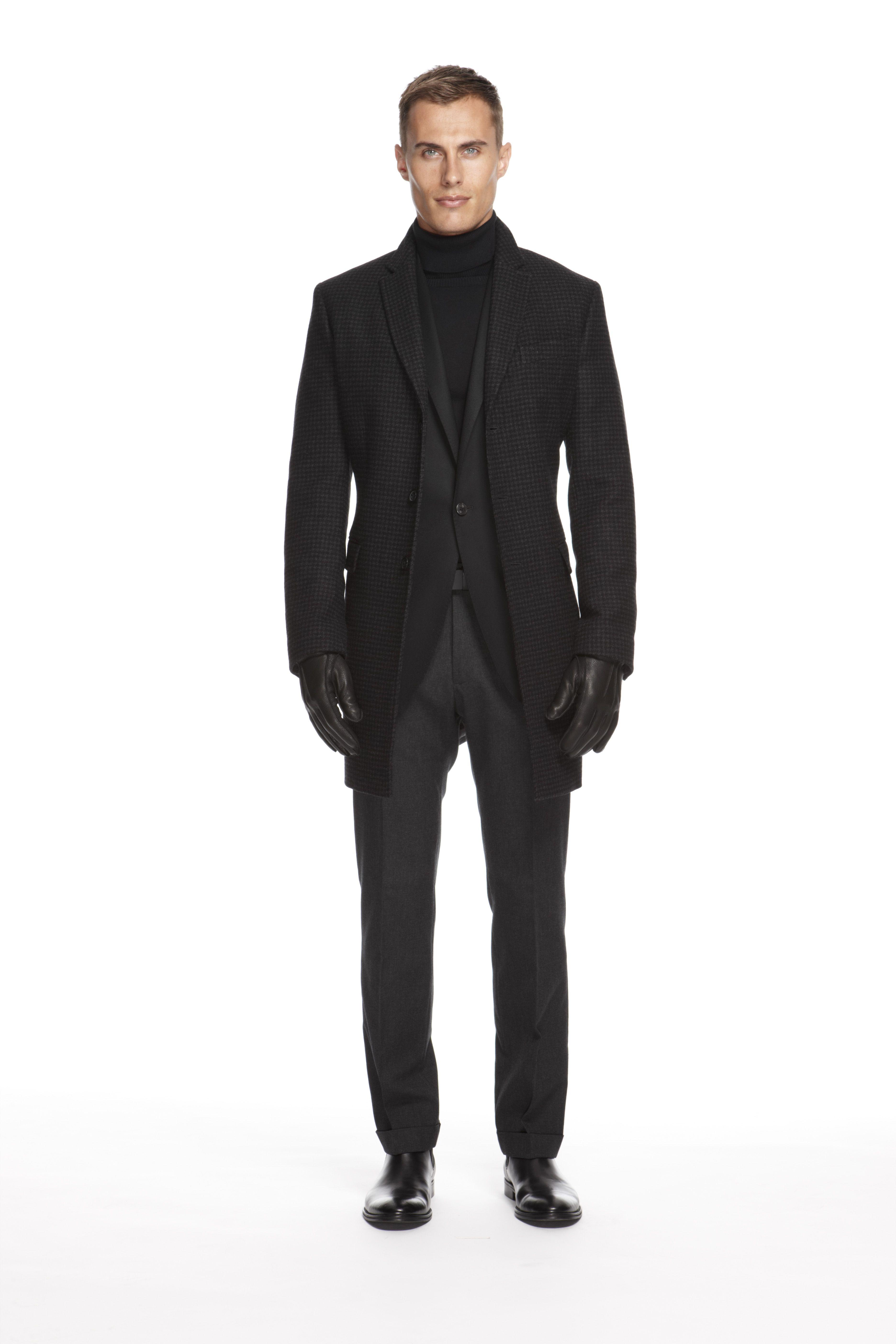 000ba27bcb7a #BRAnnaK #BananaRepublic Charcoal Wool Houndstooth Top Coat - Black Monogram  Flannel Single-Breasted Jacket - Black Slim-Fit Turtleneck - Charcoal ...