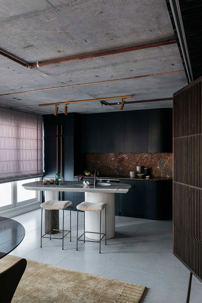 Black And Concrete Stylish Bachelor Apartment In Sydney S