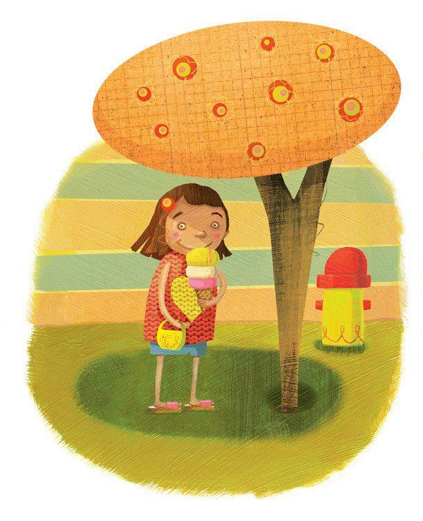 Kids wall art - illustration print - Ice cream summertime girl - 11 ...