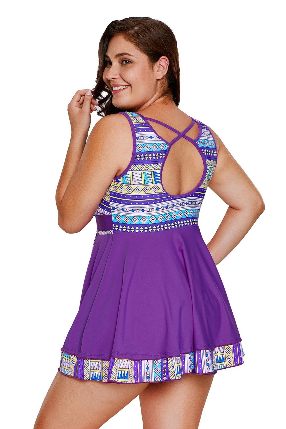 3ee2917ef68 Women Maternity Clothes - FUSENFENG Womens Plus Size Tribal Print Tankini  with Boyshort Swimsuit Swimdress Purple XXXL    You could find out more  details at ...