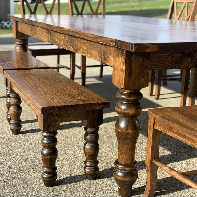 Chunky Pine Dining And Chunky Pine Bench Legs Combo Set 5 Etsy In 2020 Farmhouse Dining Farmhouse Dining Table Dining Table Legs