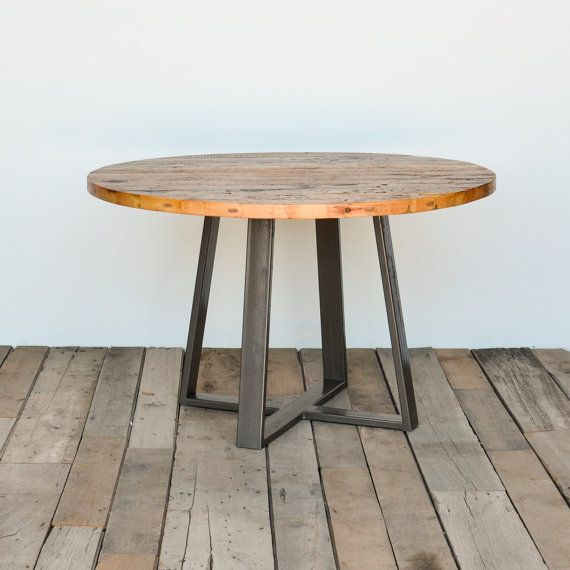 Round Criss Cross Dining Table In Reclaimed Wood And Steel Legs Your Choice Of Color Size Finish