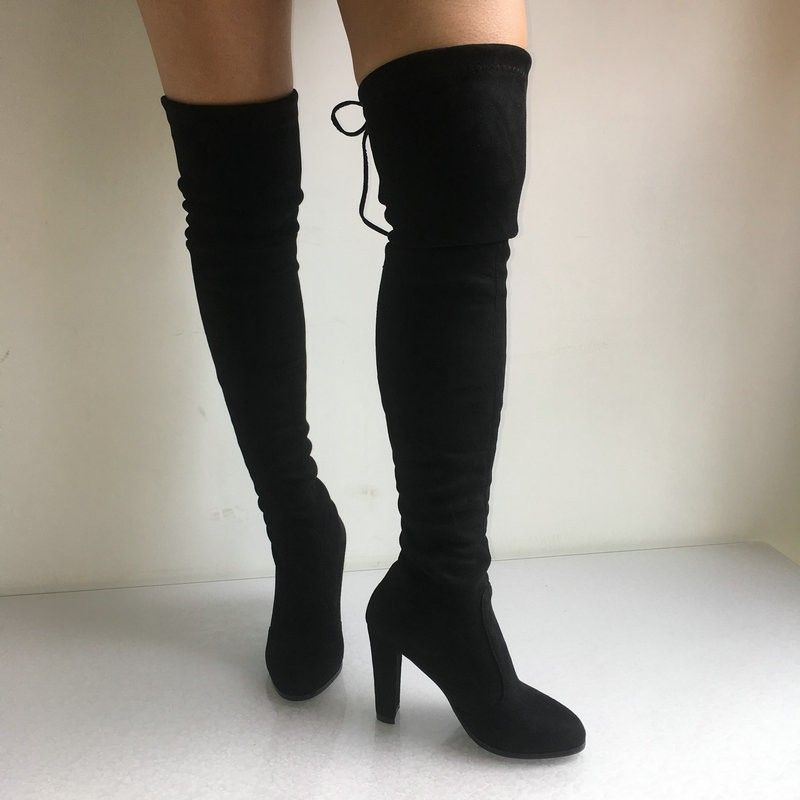 Top Faux Suede Women Thigh High Boots Stretch Slim Sexy Fashion Over The Knee Boots Female Shoes High Heels Black Gray Wine Nude Over-the-knee Boots