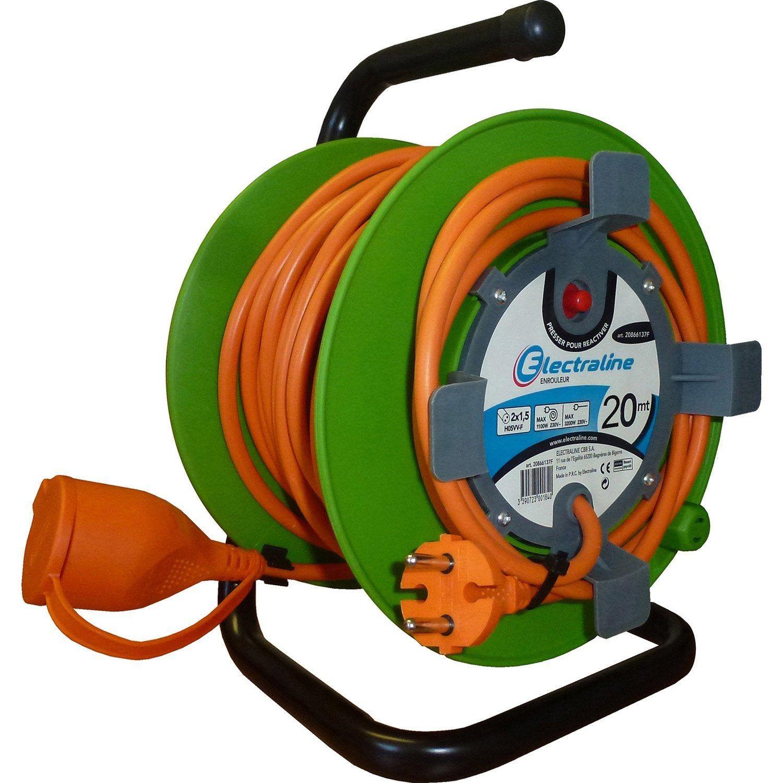 Enrouleur De Cable Electrique Jardin L 20 M Ho5vvf 2x1 5 Electraline Cable Electrique Enrouleur De Cable Et Jardins